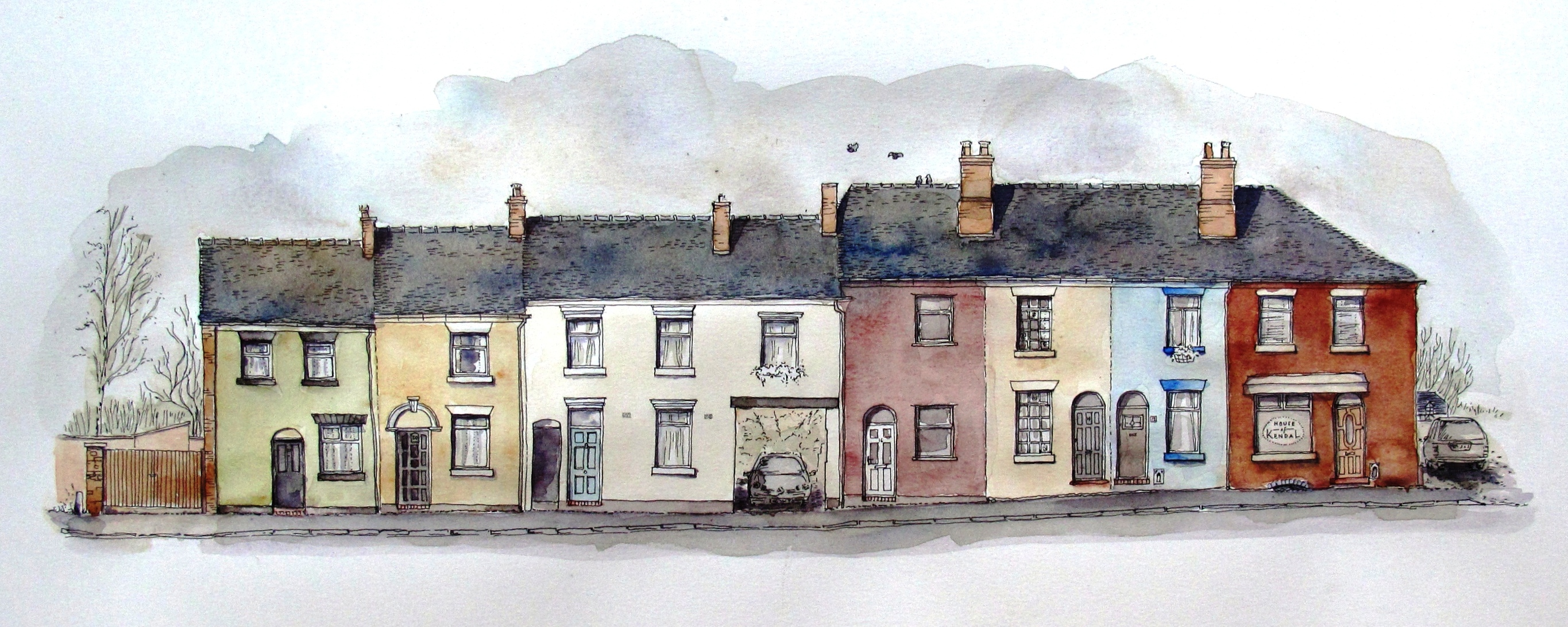 Well street, older north facing side, water colour