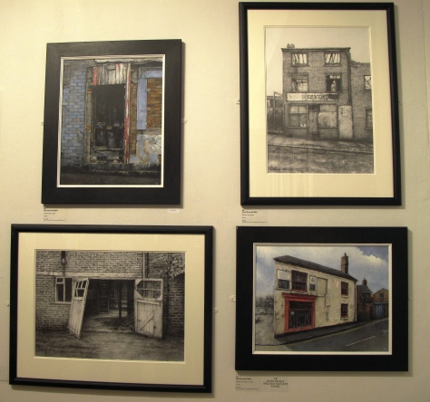David Brammeld's four selected artworks, Clockwise top leftWorking mens Club, Derelict newsagent, Empty Corner Shop,- Harveys (Prizewinner), Working Mens Club