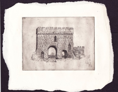 An old etching of Steeton Hall Gatehouse made in 1982