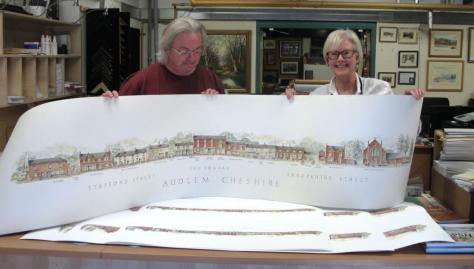 Audlem drawing at the printers