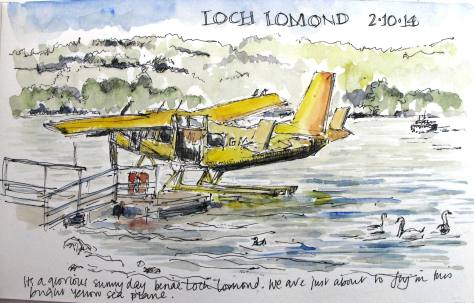 pen and ink sketch of Loch Lomond seaplane