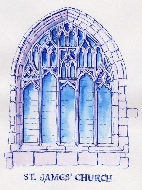 Pen and ink drawing of the window