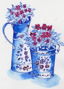 painted jugs pen and ink