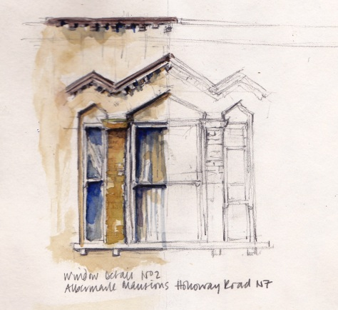 Pencil and watercolour wash drawing of a window on Albermarle Mansions