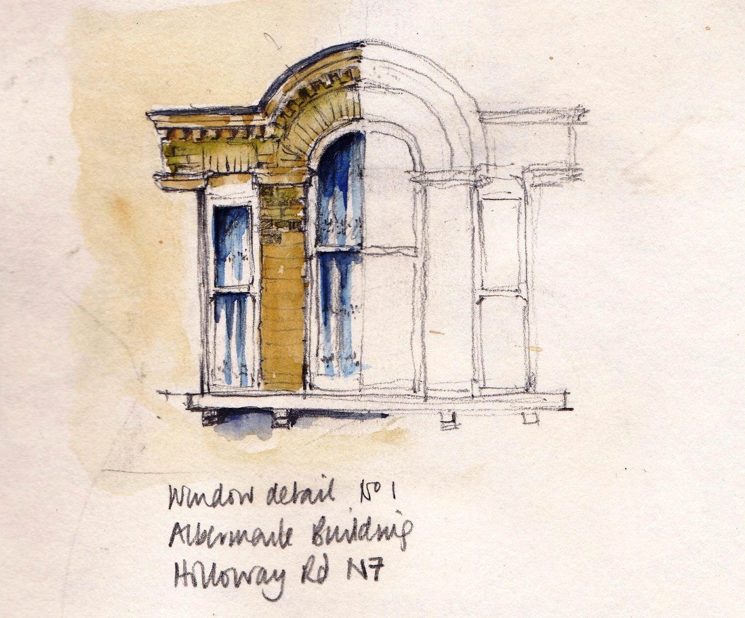 Pencil and watercolour drawing Albermarle Mansions Holloway Road London