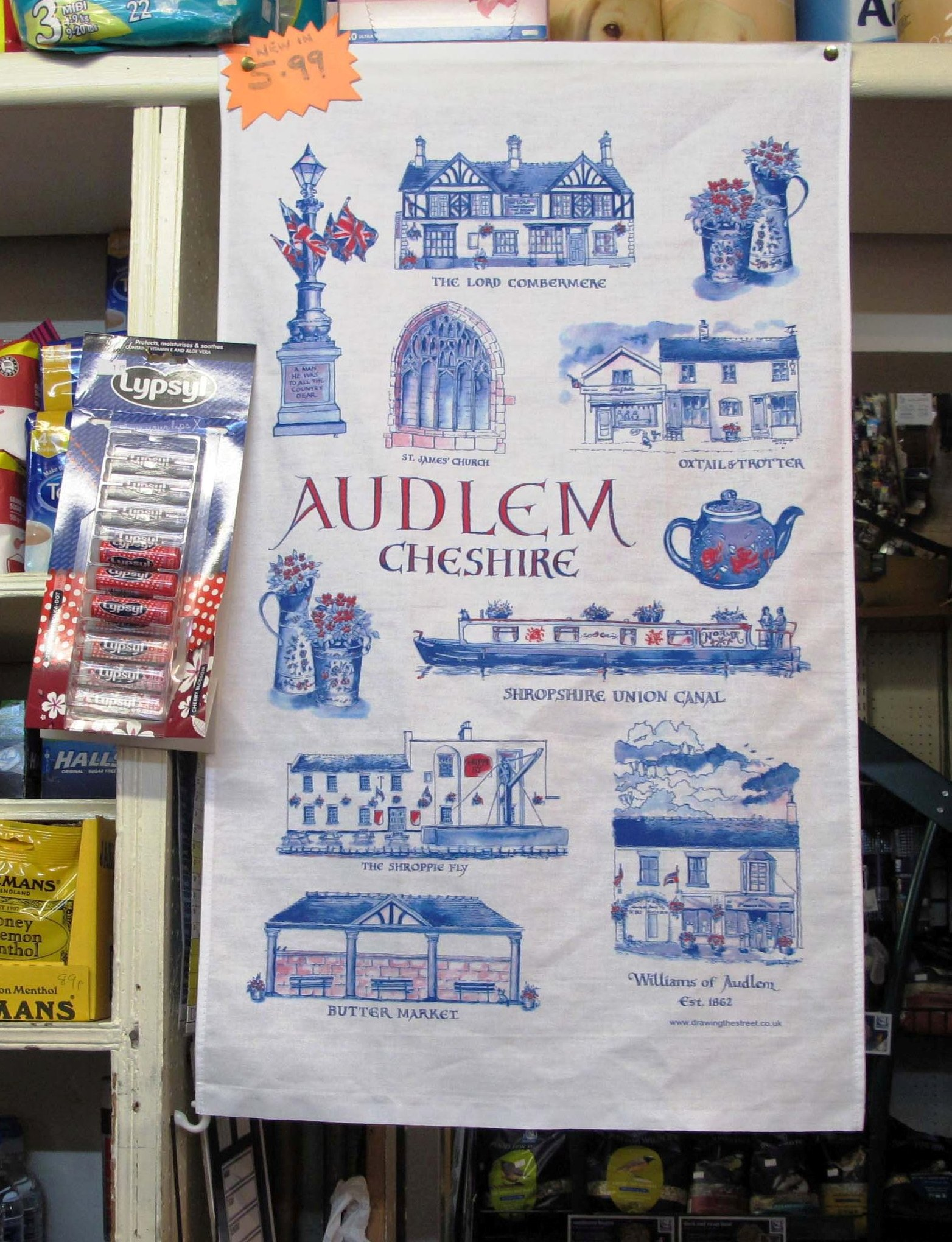 Tea Towel of Audlem from pen and ink drawing