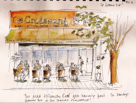 Pen and ink sketch of Croissant D'Or Holloway Road