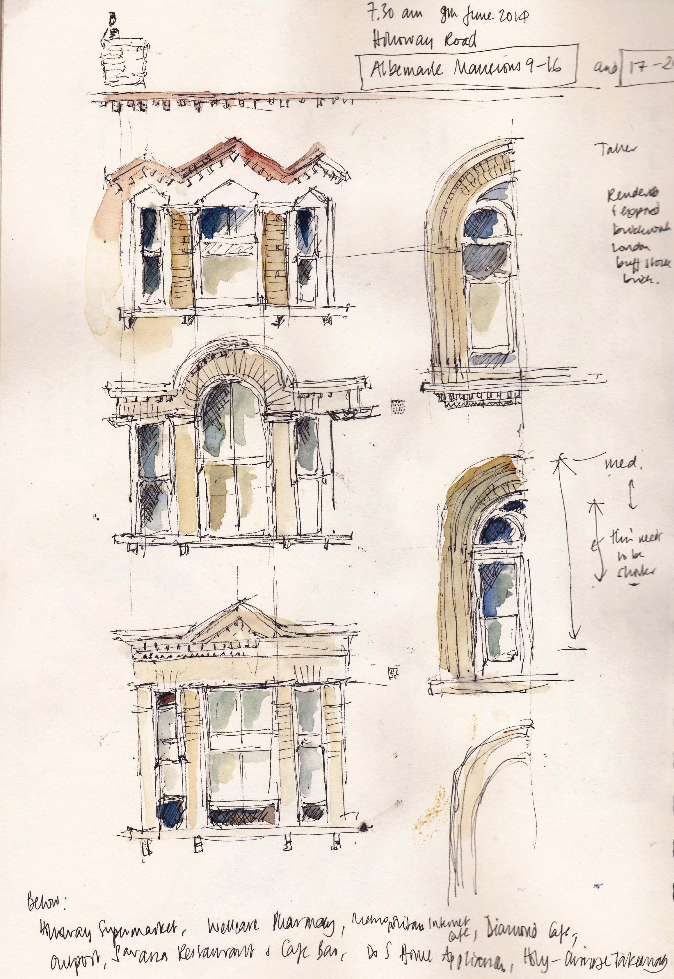 Sketch of the windows on Albermarle Mansions