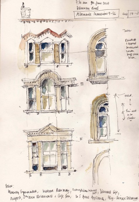 Sketch of the windows on Albermarle Mansions