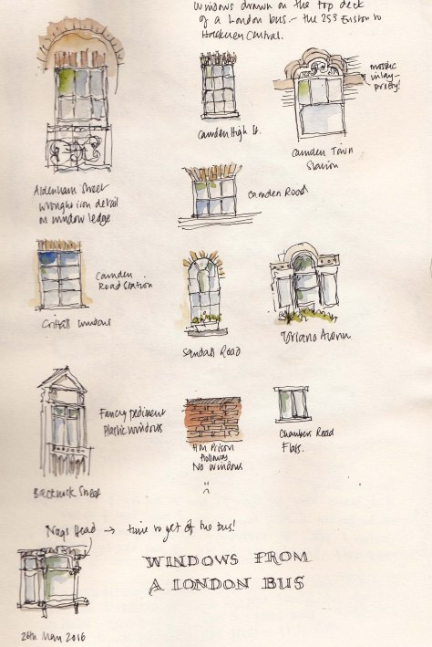 Pen and ink sketches of London windows from the bus