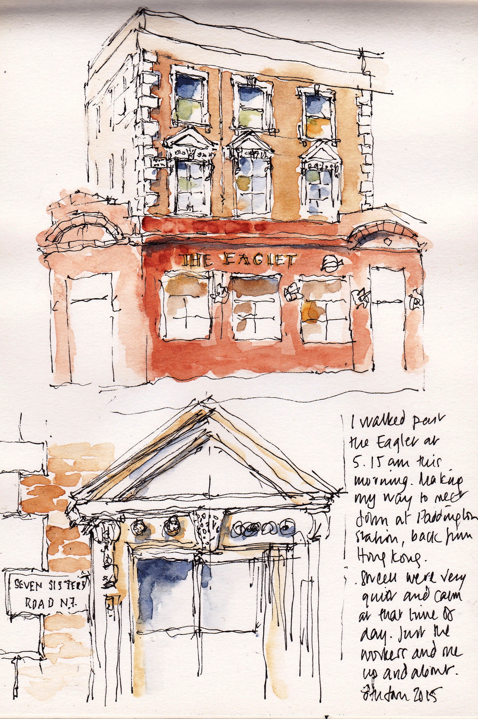 pen and ink sketch of the Eaglet pub on Seven Sisters Road, Holloway