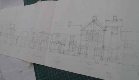 Pencil drawing of Eccleshall High Street