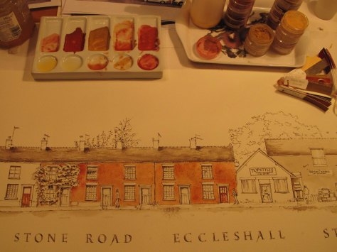 egg tempera wash on Stone Road