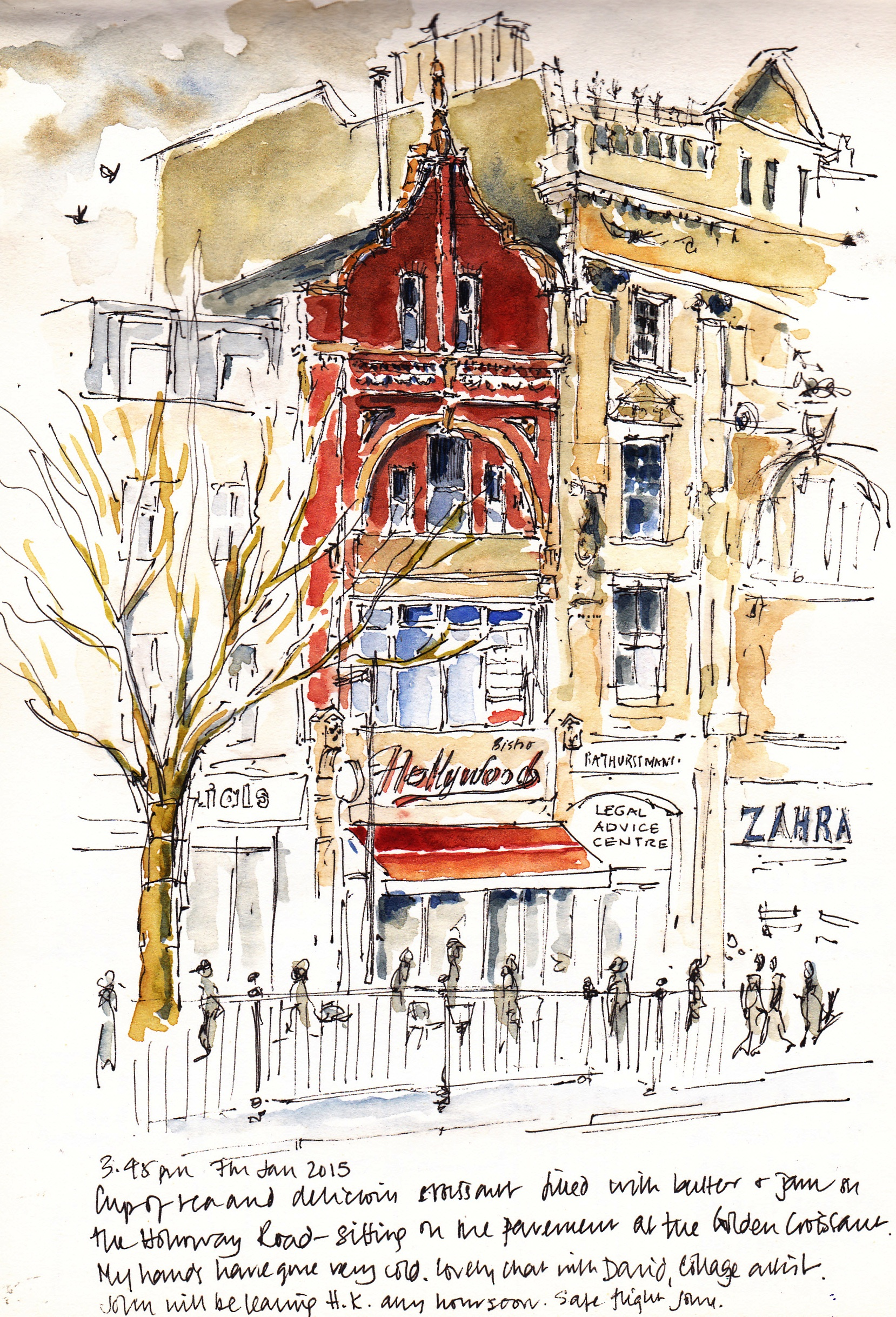 pen and ink sketch Hollyood cafe Holloway Road