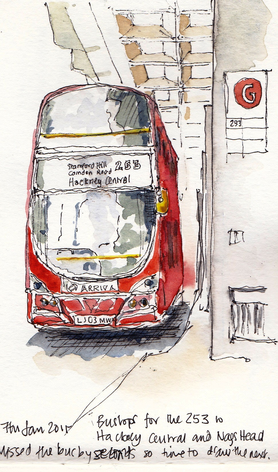 pen and ink watercolour wash london bus at euston station