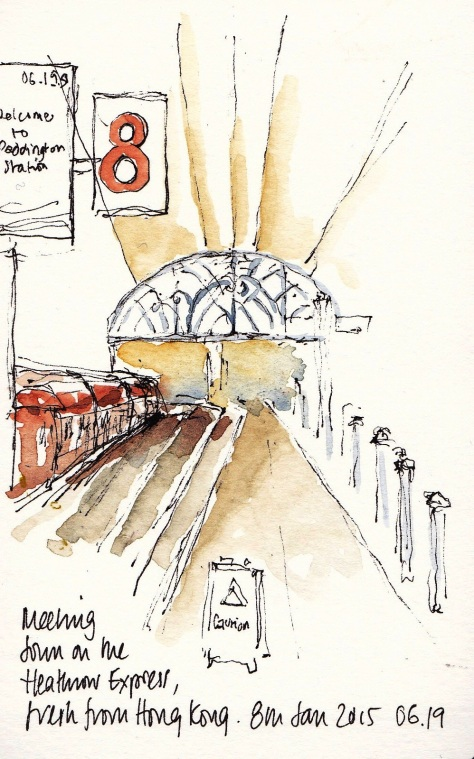 Sketch of Heathrow Express train at Paddington