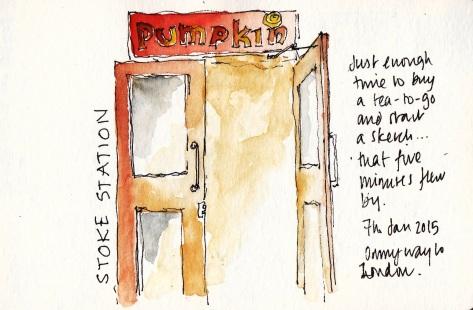 pen and ink sketch, stoke station