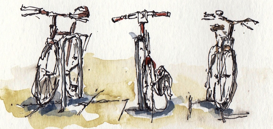 bikes sketch pen and ink