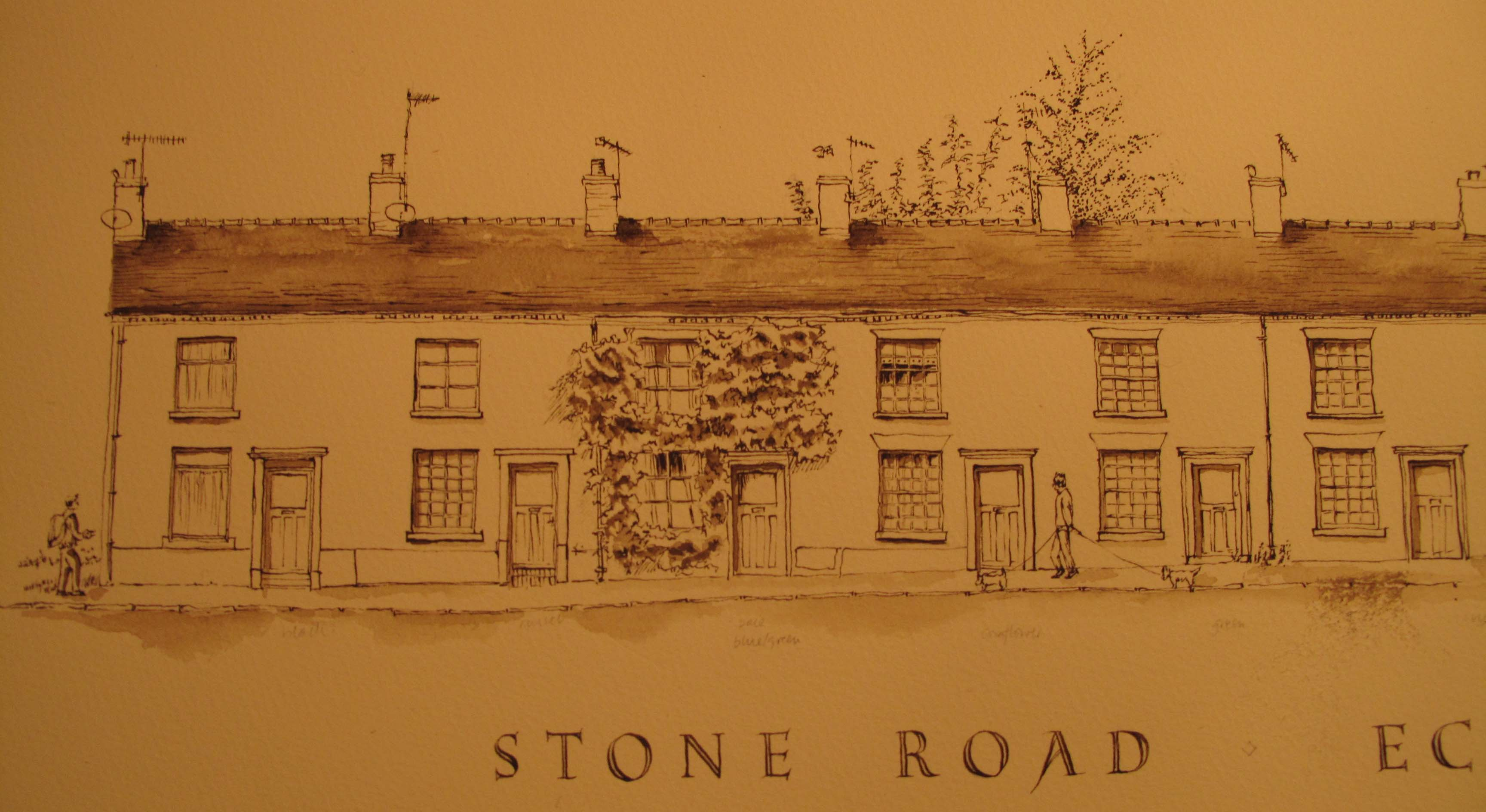 Stone Road Eccleshall, pen and ink stage
