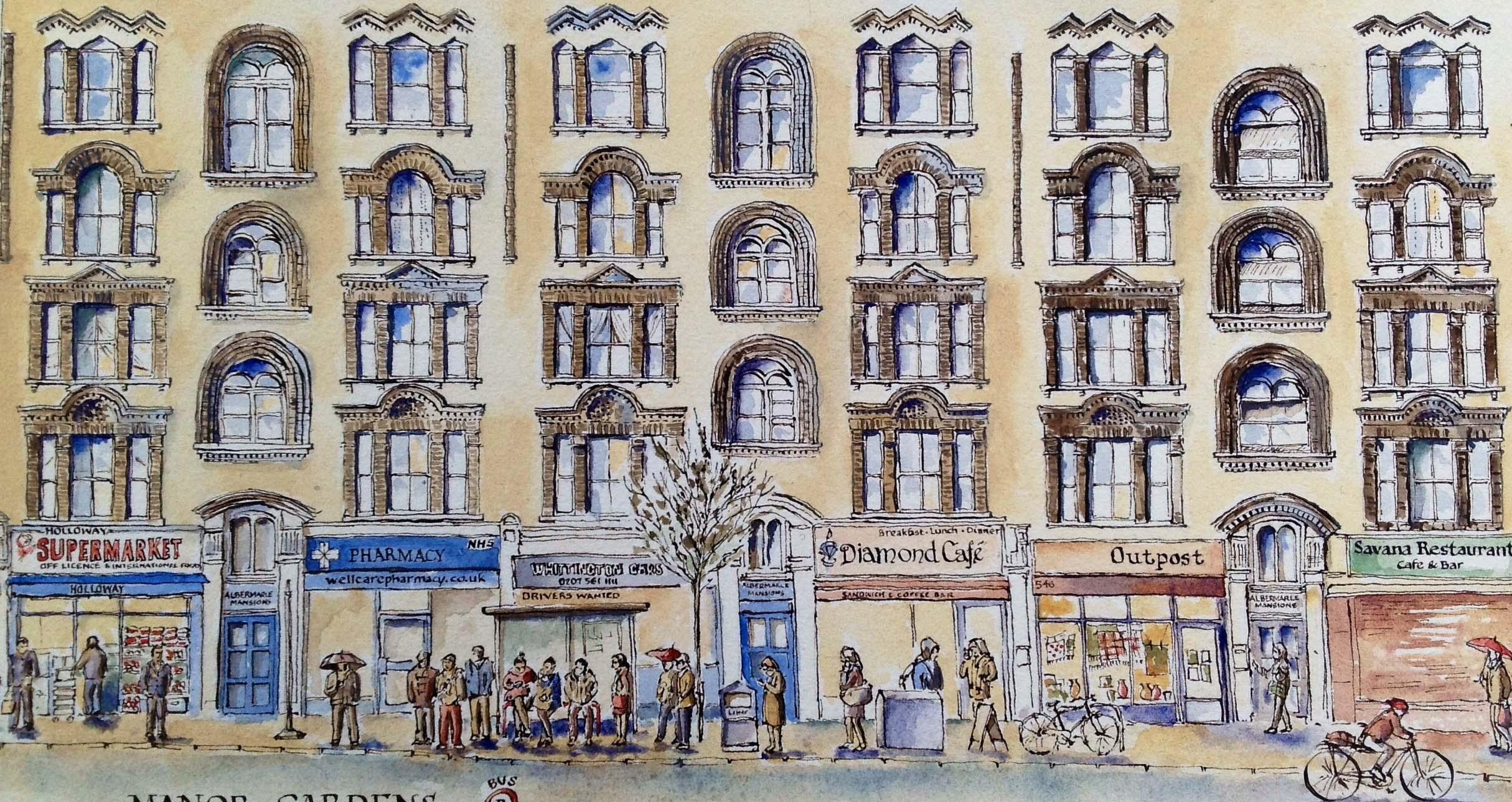 Pen and ink drawing of Albermaarle Mansions Holloway Road
