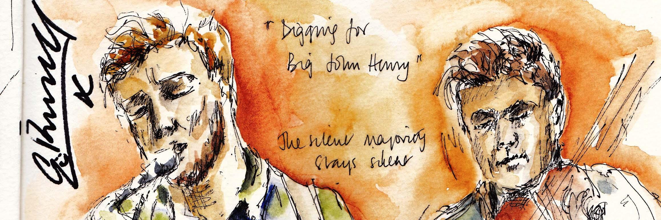 Sketch of Greg Russell and Ciaran Algar