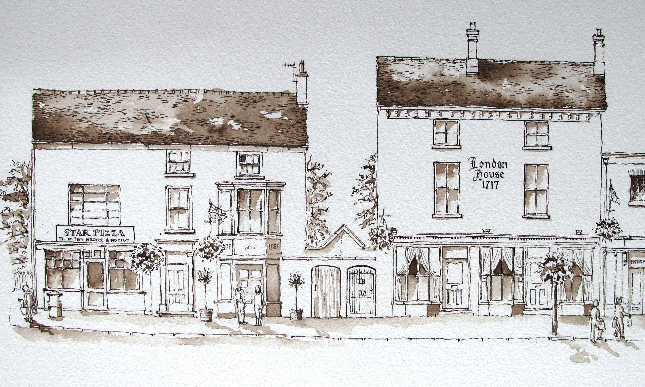 Drawing of Star Pizza High and London House,  Street, Eccleshall