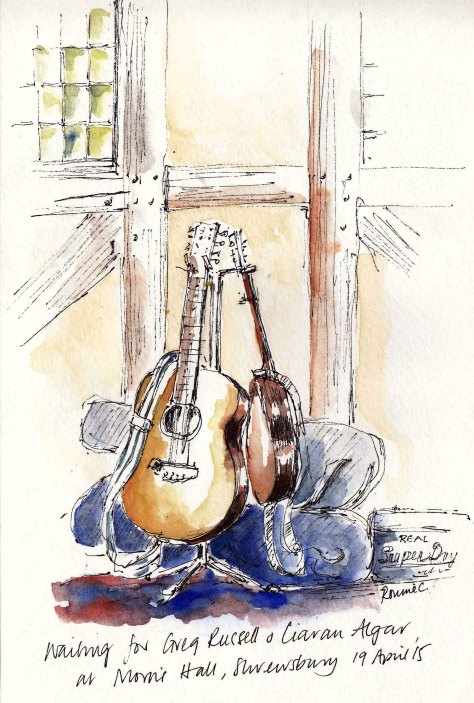 pen and ink sketch of guitars