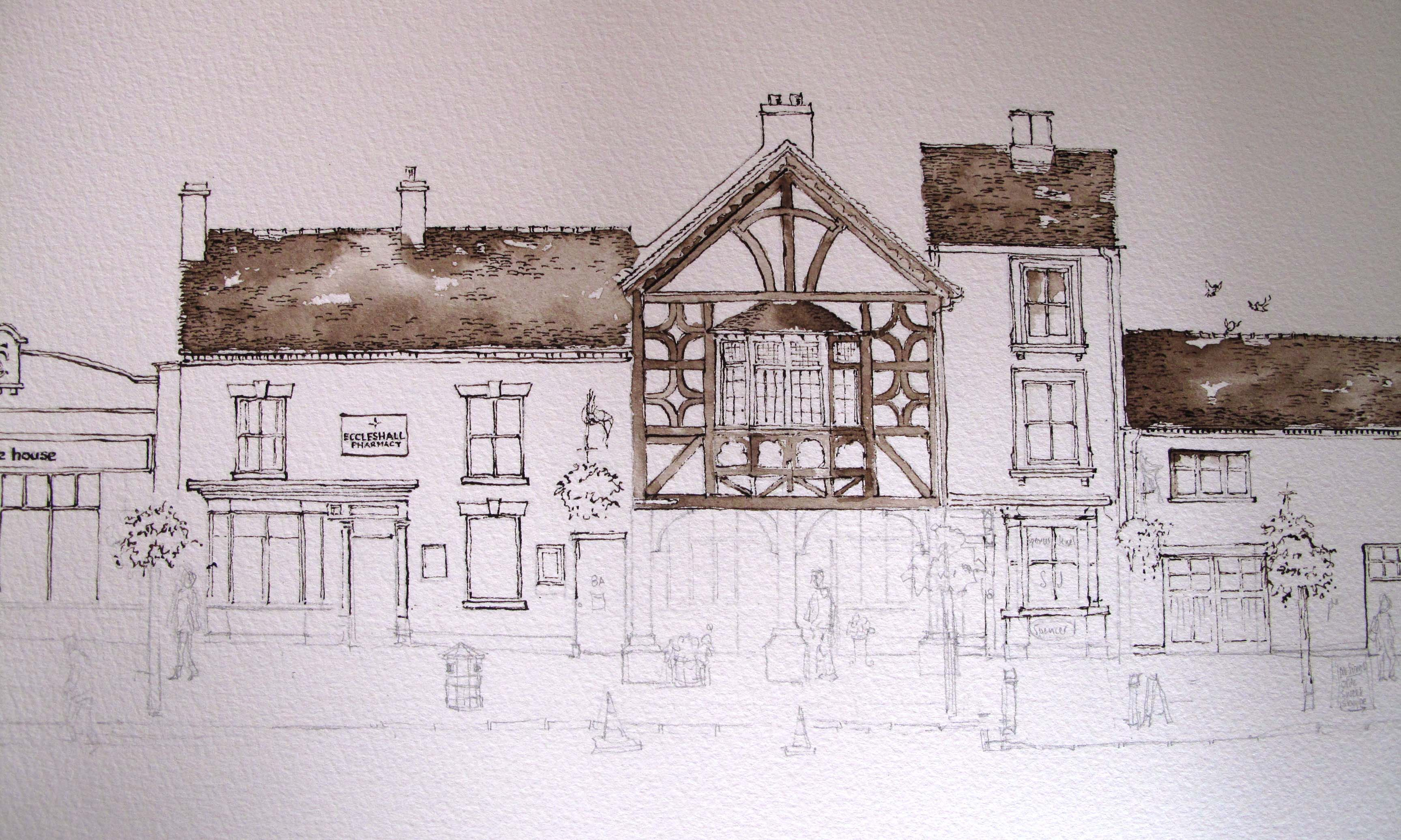 Pen and ink and pencil drawing of Eccleshall High Street
