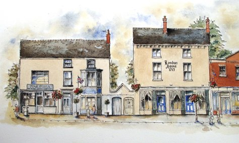 colour on drawing of Star Pizza and London House