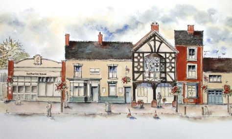 colour drawing of Katherine House, Eccleshall Pharmacy, Wines Etc