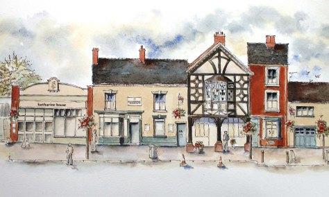 colour drawing of Katherine House, Eccleshall Pharmacy, Wines Etc