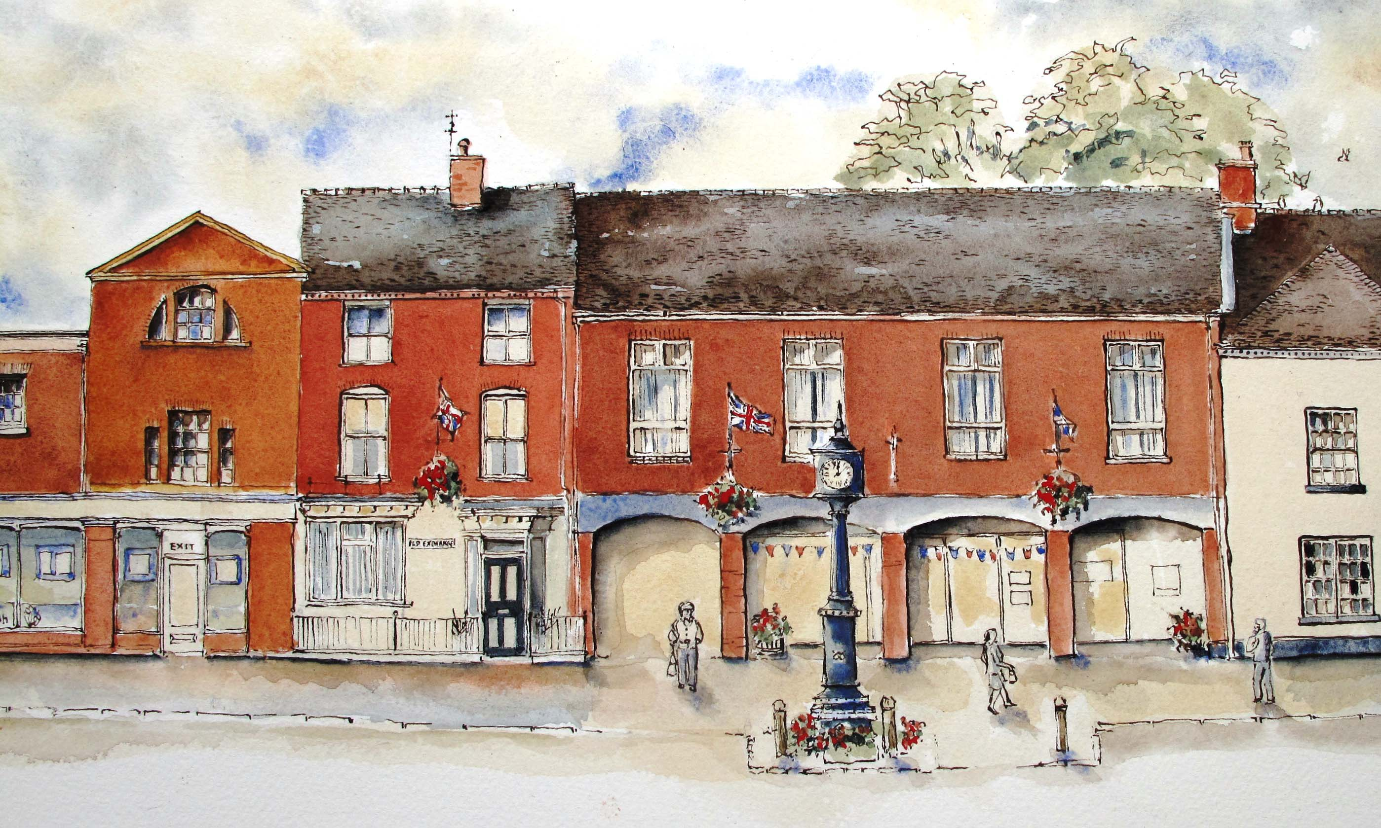 colour wash in egg tempera over Eccleshall Library