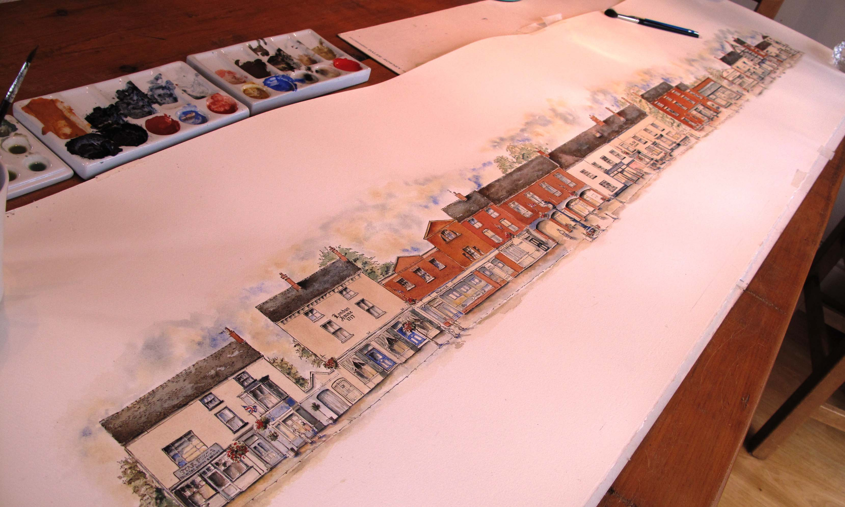 long view of whole drawing of Eccleshall High Street