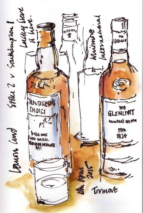 sketchof whisky bottles