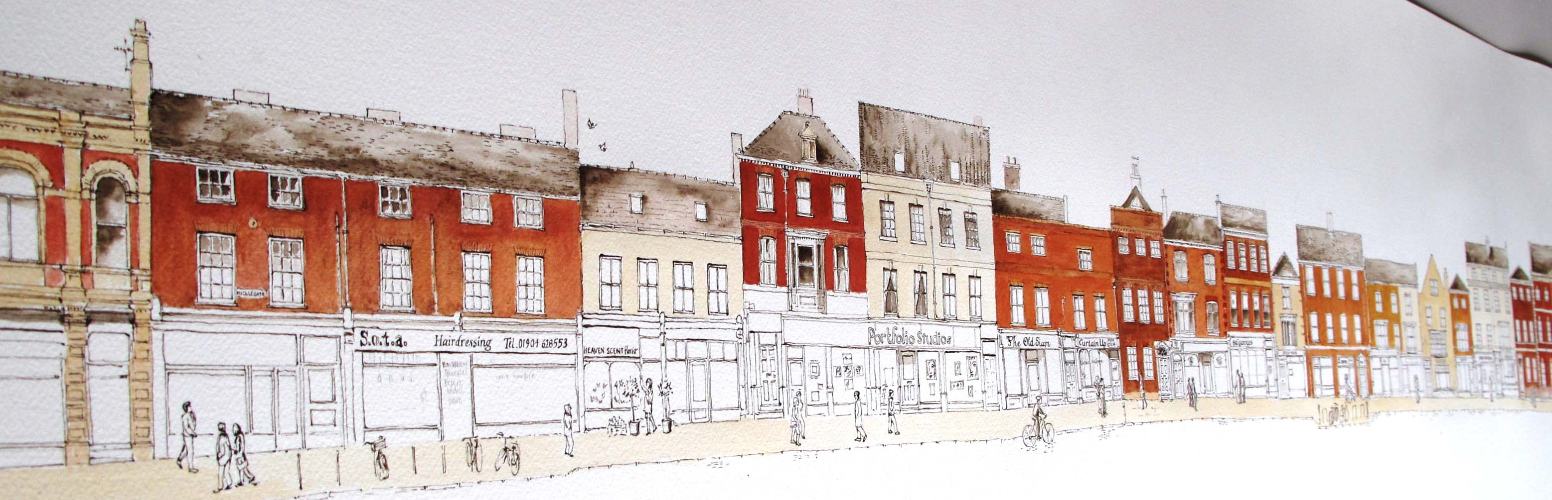 Colour over micklegate drawing