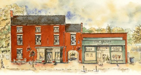 pen and ink drawing of gallery at 12 Eccleshall
