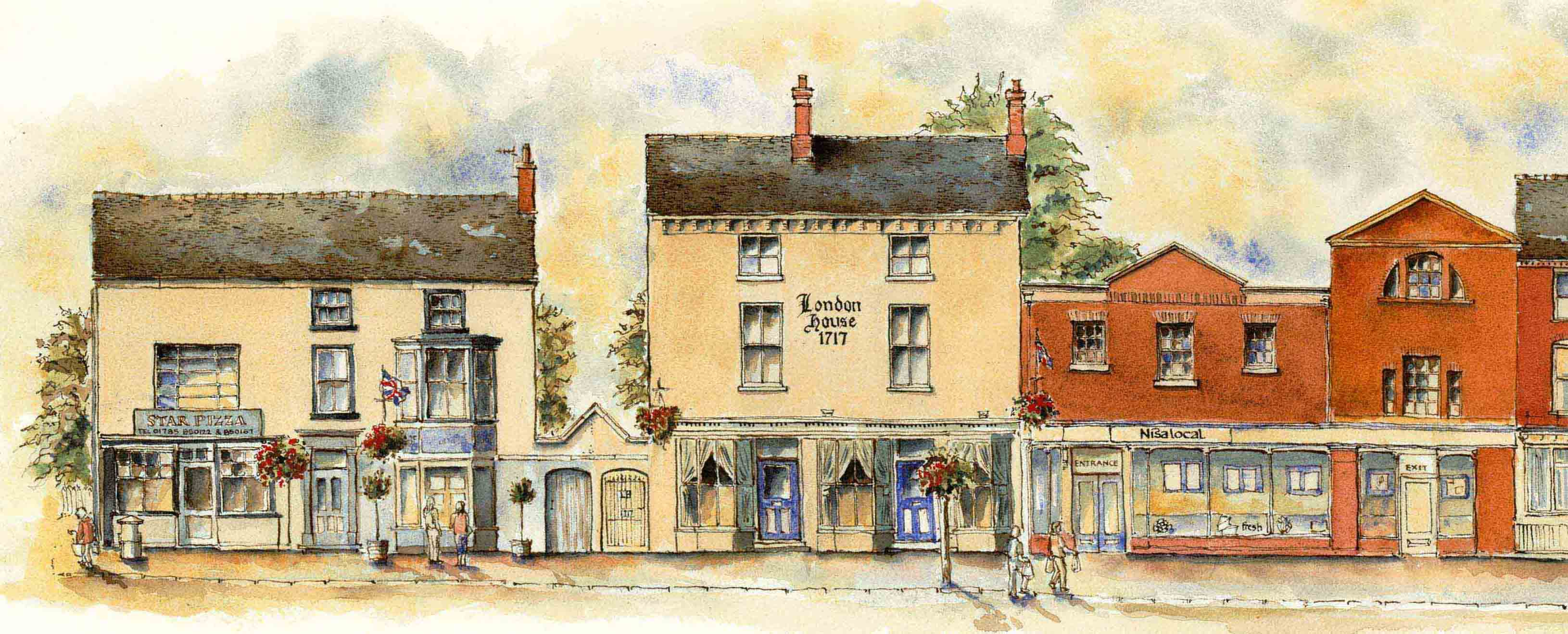 drawing of Star Pizza and London House
