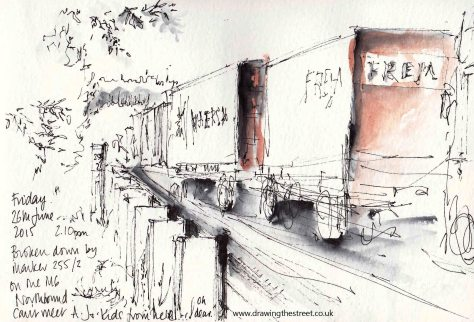 pen and ink drawing of lorries on M6