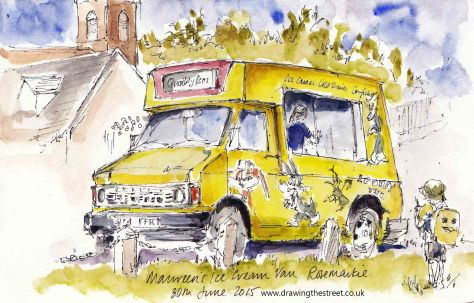 sketch of ice cream van