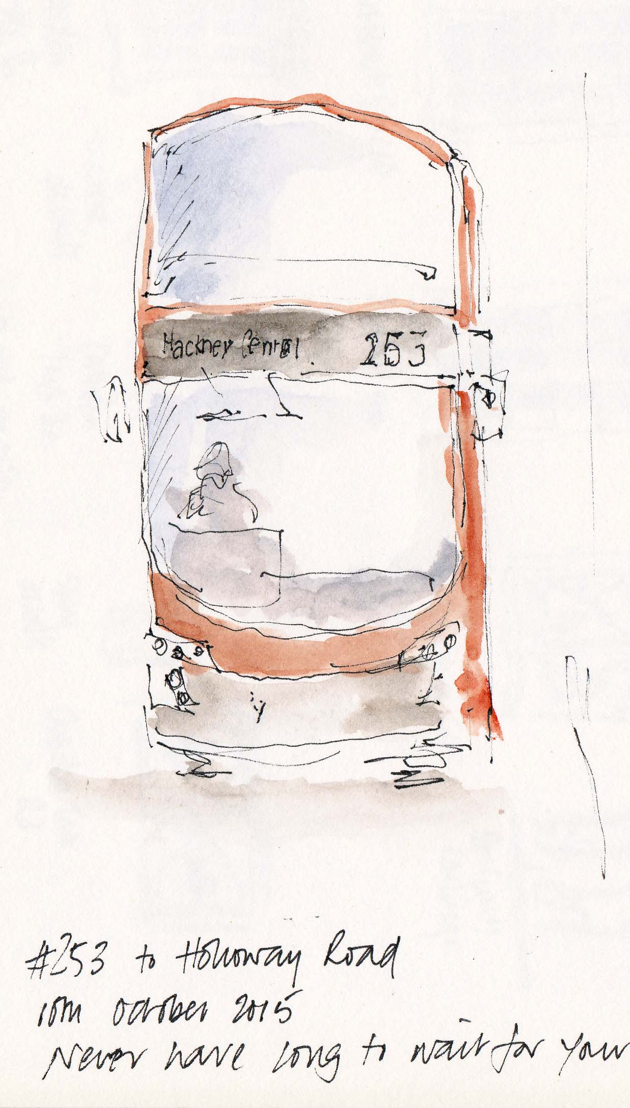 pen and ink drawing of 253 bus