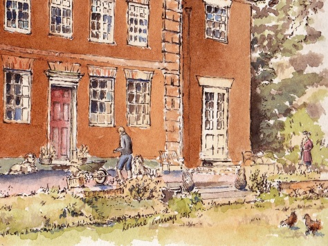 pen and ink drawing of old vicarage eccleshall