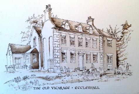 sepia line drawing of the Old Vicarage