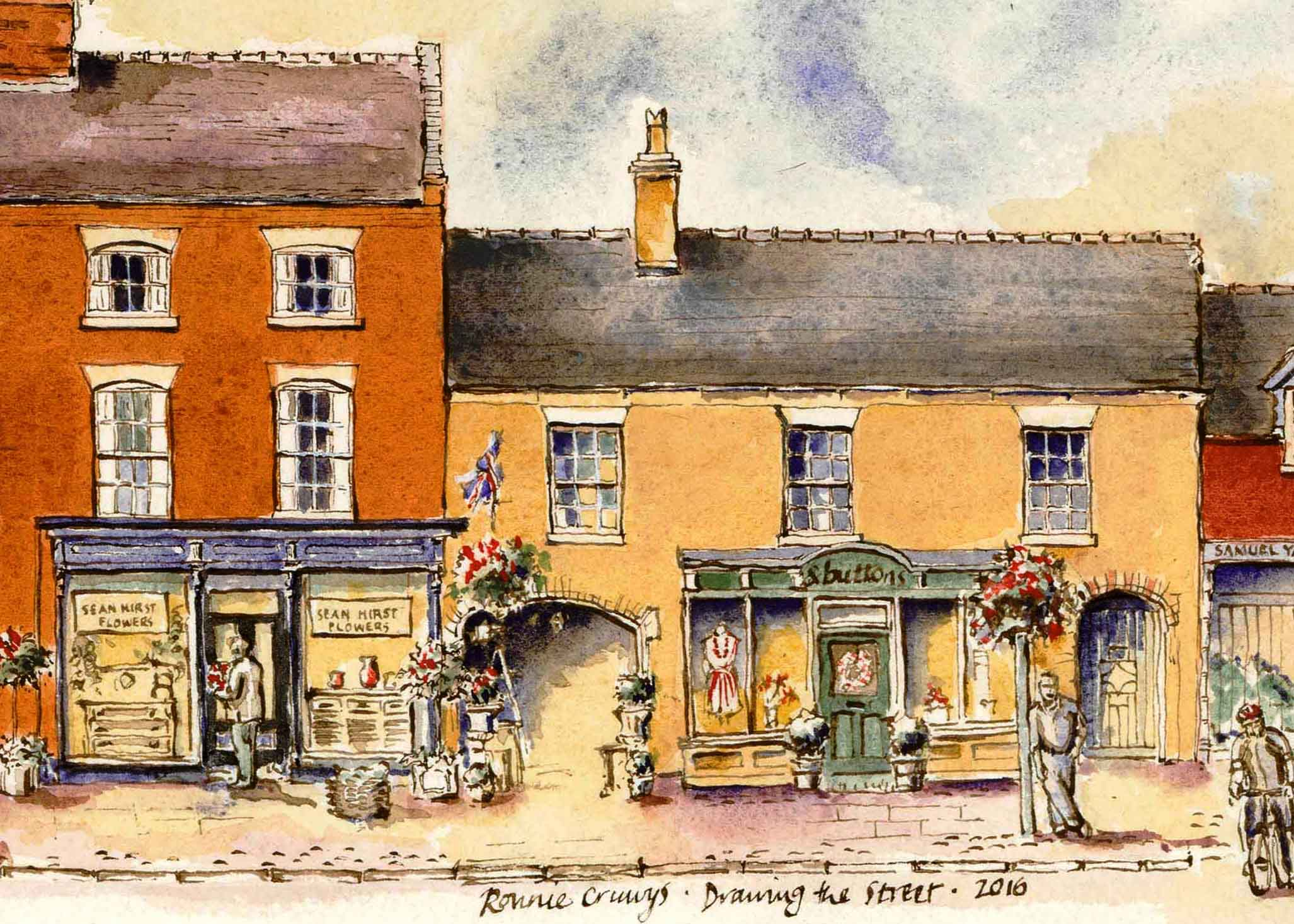Drawing of Sean Hirst Flowers Eccleshall Staffordshire