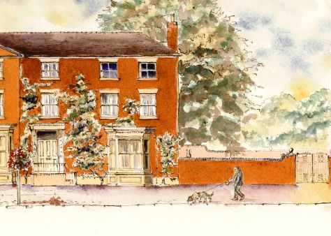 man walking dog in drawing of Eccleshall