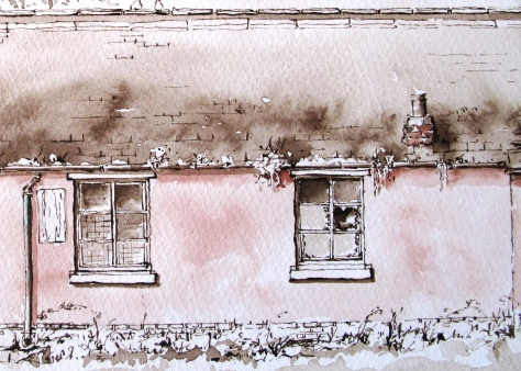 Pen and ink drawing of Bothies at keele
