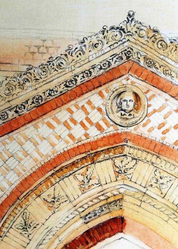pencil drawing and ochre wash of the Wedgwood Institute