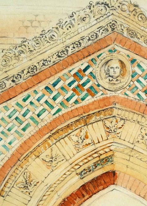 pencil drawing of the entrance to the Wedgwood Institute