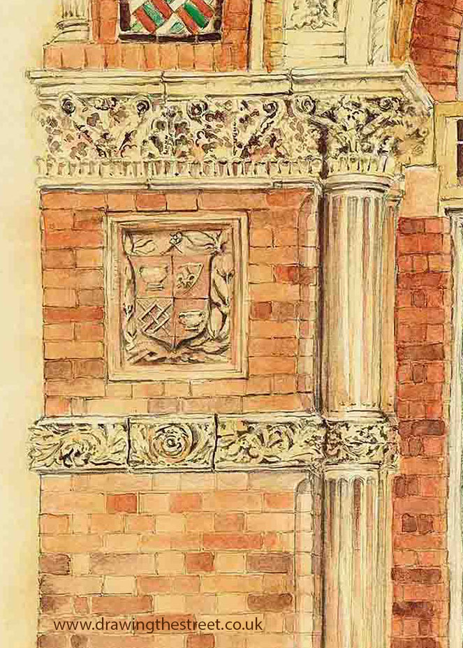 Terracotta tiles and masonry details next to wedgwood institute