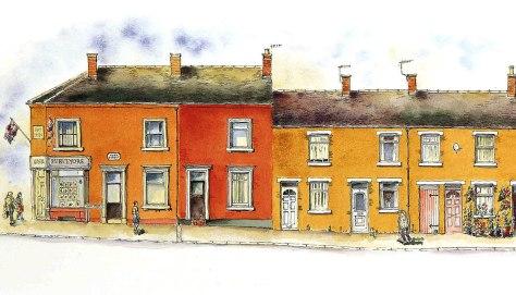 Bury and hilton and terraced houses on York Street Leekt