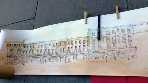 pen and ink and water colour on holloway road
